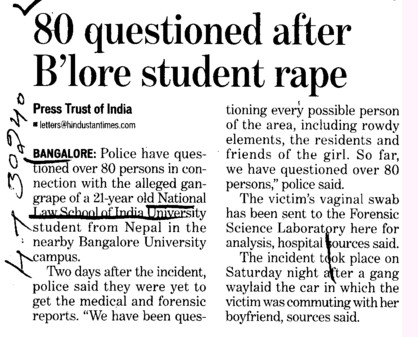 80 questioned after B lore Students rape (National Law School of India University (NLSIU))