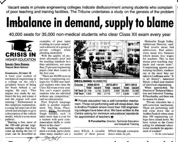 Imbalance in demand, supply to blame (IK Gujral Punjab Technical University PTU)