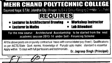 Lecturer in Maths and Lab Attendent etc (Mehr Chand Polytechnic College)