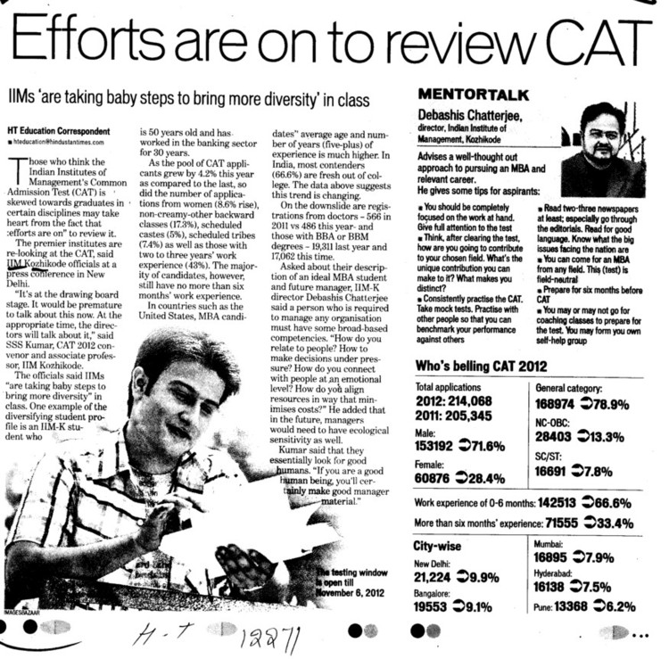 Efforts are on to review CAT (Indian Institute of Management (IIM-Calicut))