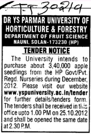 Purchase of Apple seedings (Dr Yashwant Singh Parmar University of Horticulture and Forestry)