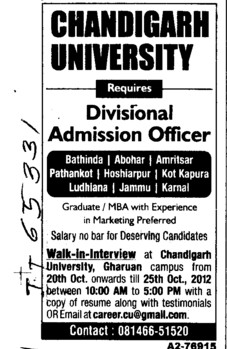 Admission Officer (Chandigarh University)
