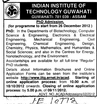PhD Course 2012 (Indian Institute of Technology IIT)