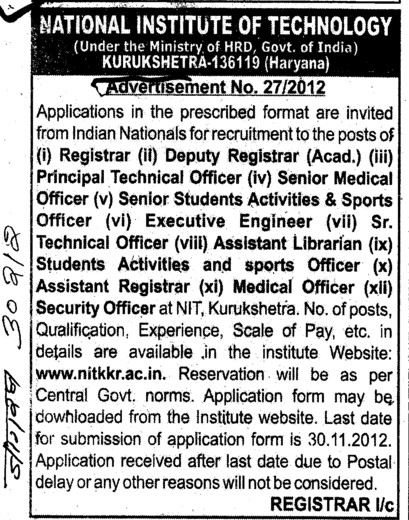 Registrar, Medical Officer and Executive Engg etc (National Institute of Technology (NIT))