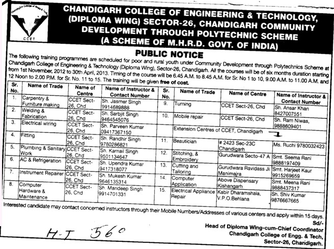 Fitting and Instrument Repairer etc (Chandigarh College of Engineering and Technology (CCET))