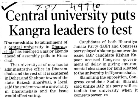 Central University puts kangra Leaders to test (Central University of Himachal Pradesh)