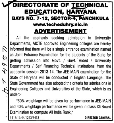 JEE Main Examination 2012 (Directorate of Technical Education Haryana)