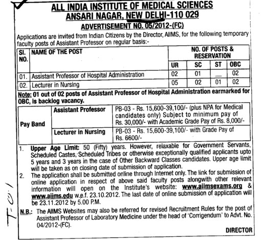 Asstt Professor and Lecturer (All India Institute of Medical Sciences (AIIMS))