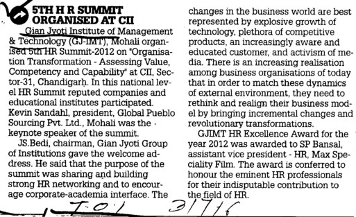 5 th HR Summit organised at CII (Gian Jyoti Institute of Management and Technology (GJIMT))