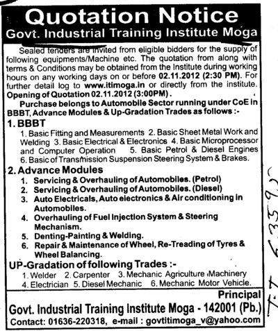 Denting, Painting and Welding etc (Industrial Training Institute (ITI))