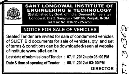 Notice regarding Sale of vehicles (Sant Longowal Institute of Engineering and Technology SLIET)