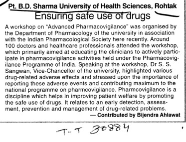 Ensuring safe use of drugs (Pt BD Sharma University of Health Sciences (BDSUHS))