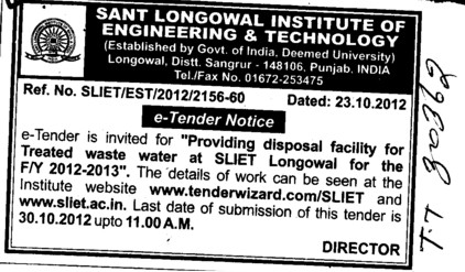 Disposal facility for treated waste water (Sant Longowal Institute of Engineering and Technology SLIET)
