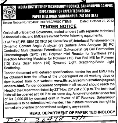 Surface Area Analyzer etc (Indian Institute of Technology (IITR))