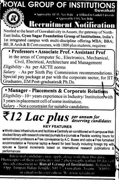 Professor, Asstt Professor and Associate Professor (Royal Group of Institutions)
