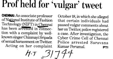 Professor held for vulgar tweet (National Institute of Fashion Technology (NIFT), Chennai)