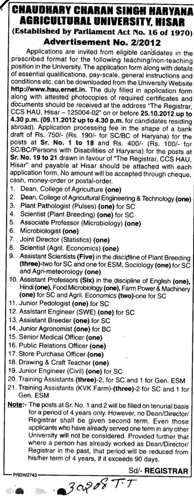 Asstt Scientist and Joint Director (Ch Charan Singh Haryana Agricultural University (CCSHAU))