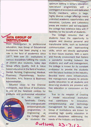 Profile of Jaya Group of Institutions (Jaya Group of Institutions)