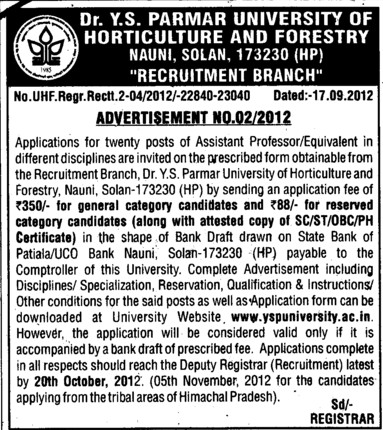 Asstt Professor (Dr Yashwant Singh Parmar University of Horticulture and Forestry)