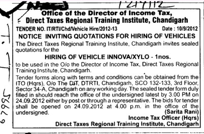 Hiring of Vehicles (Direct Taxes Regional Training Institute)