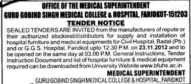 Installation of Hospital Furniture (Guru Gobind Singh Medical College)