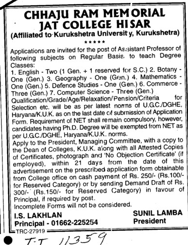 Asstt Professor for various subjects (Chhaju Ram Memorial Jat College)