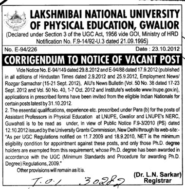 Post of Asstt Professor (Lakshmibai National University of Physical Education (LNUPE))