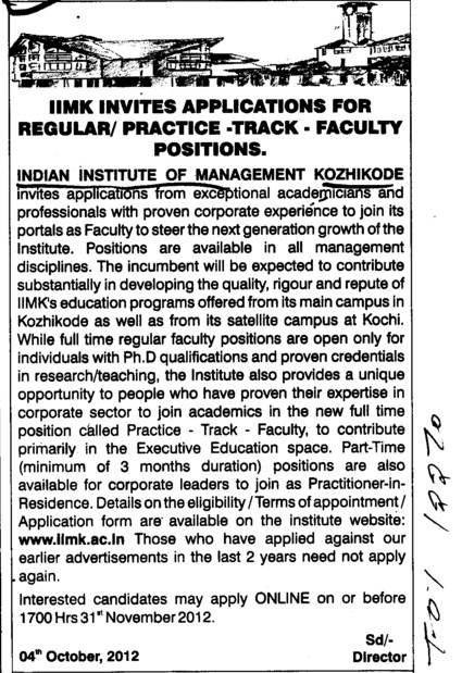 faculty positions on regular basis (Indian Institute of Management (IIM-Calicut))