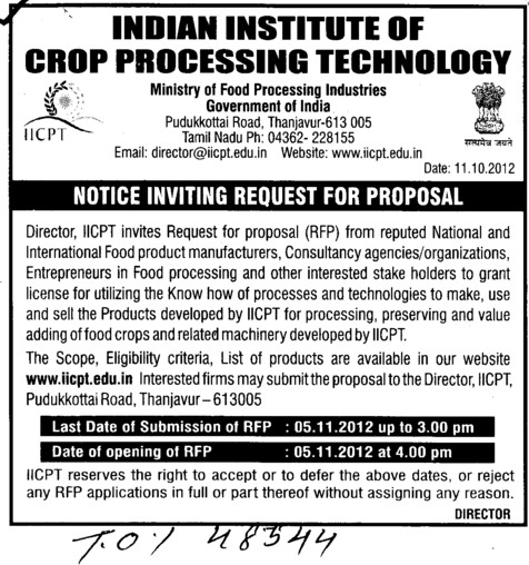 Request for Proposal (Indian Institute of Crop Processing Technology (IICPT))