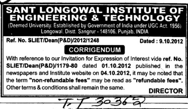 refundable fees (Sant Longowal Institute of Engineering and Technology SLIET)