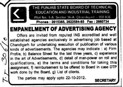 Balance Sheets (Punjab State Board of Technical Education (PSBTE) and Industrial Training)