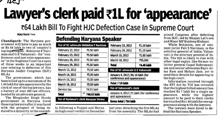 Lawyers clerk paid Rs  1 L for appearance (Bar Council of India (BCI))