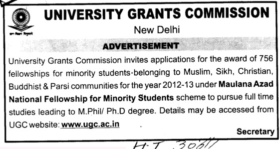 Maulana Azad Fellowship for Minority Students (University Grants Commission (UGC))