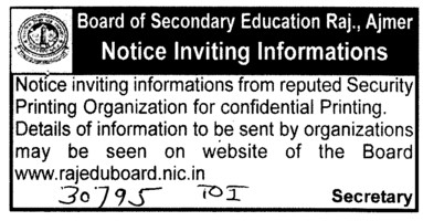 Security Printing (Rajasthan Board of Secondary Education)
