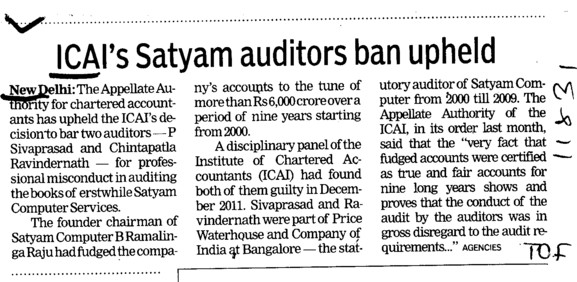 ICAIs satyam auditors ban upheld (Institute of Chartered Accountants of India (ICAI))