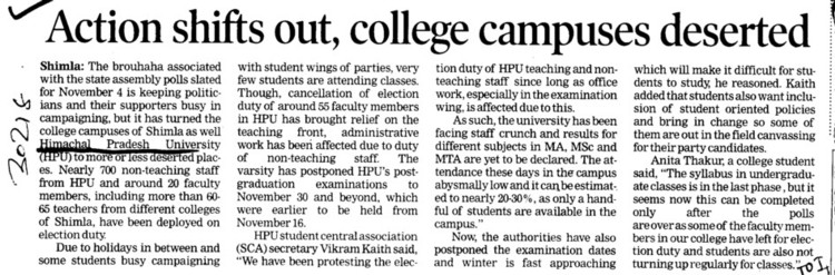 Action shifts out, college campuses deserted (Himachal Pradesh University)