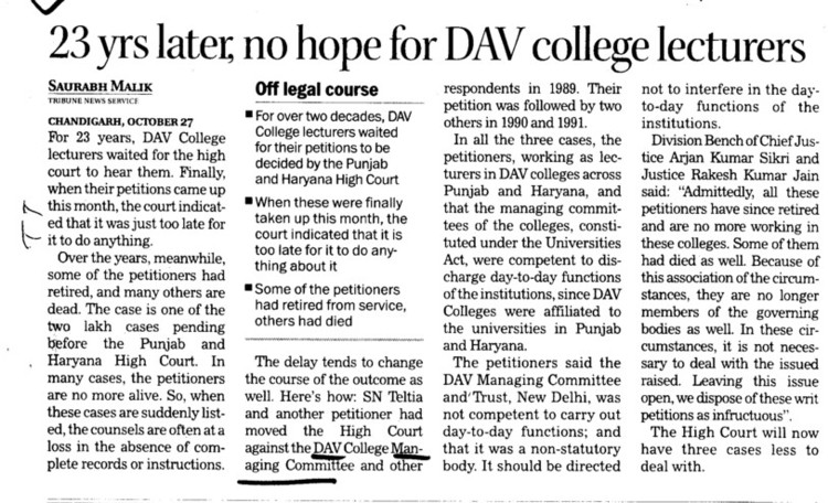 23 yrs later, no hope for DAV College Lecturers (DAV College Managing Committee)