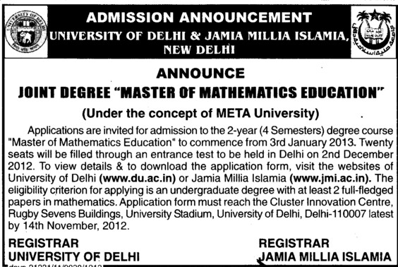 Master of Mathematics Edeucation (Jamia Millia Islamia)