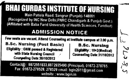 BSc Nursing and Post Basic BSc Nursing course (Bhai Gurdas Institute of Nursing)