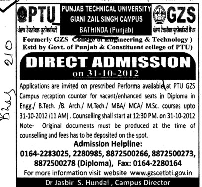 BTech, MTech and MBA Courses etc (Giani Zail Singh College Punjab Technical University (GZS PTU) Campus)