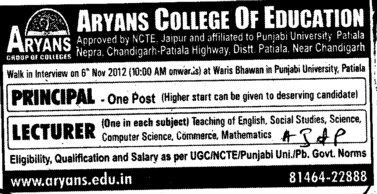 Principal and Lecturer (Aryans College of Education)