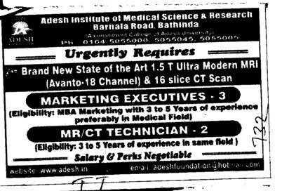 CT Technician etc (Adesh Institute of Medical Sciences and Research)