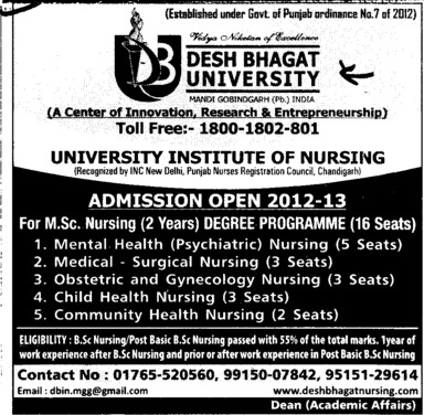 MSc Nursing course (Desh Bhagat University)
