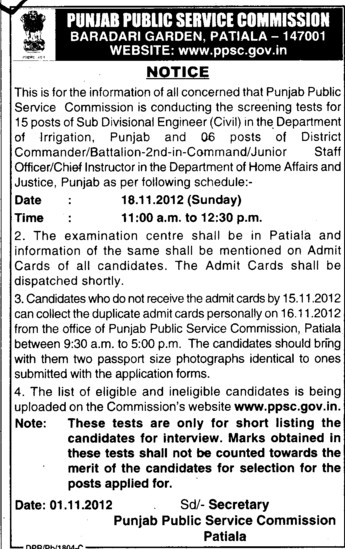 District Commandar etc (Punjab Public Service Commission (PPSC))
