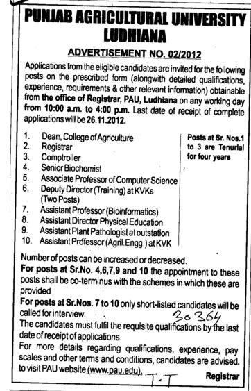 Controller, Senior Biochemist and Asstt Professor etc (Punjab Agricultural University PAU)