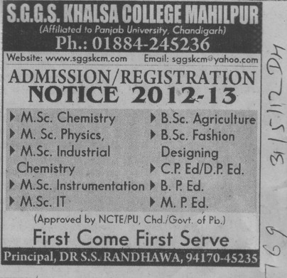 MSc in PCM and BSc in Fashion etc (SGGS Khalsa College)
