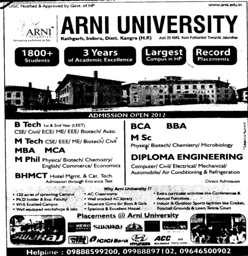 Btech, Mtech and MBA Courses etc (Arni University Kathgarh)