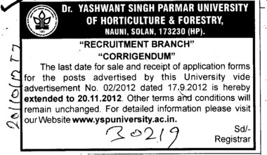 Ragarding date change in post (Dr Yashwant Singh Parmar University of Horticulture and Forestry)