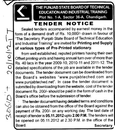 various types of Pre Printed Stationary (Punjab State Board of Technical Education (PSBTE) and Industrial Training)