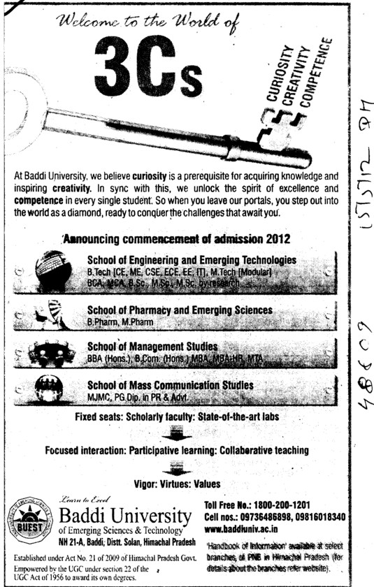 BTech,Mtech and MCA Courses etc (Baddi University of Emerging Sciences and Technologies)